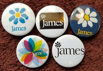 James Button Badges x 5. Pins. Collector. Bargain :0)