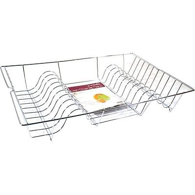 Chrome Metal Wire Dish Drainer Rack Plates Bowls Washing Up Tray Kitchen