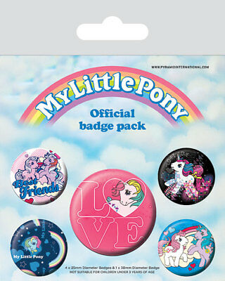 My Little Pony Retro Official 5 Badge Pack Girl Love Cute Best Friend Pin Button