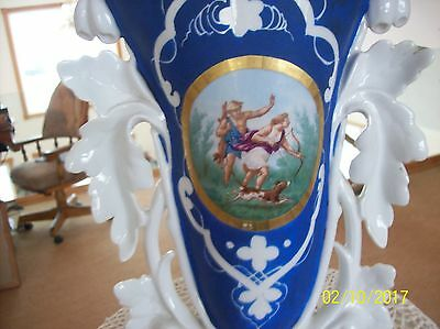 French Old Paris Antique Porcelain Cobalt Blue Deer Hunting Scene Spill Vase