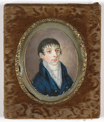 """""""Portrait of a young gentleman"""", French miniature, ca. 1810"""
