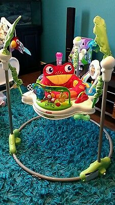 baby toddler child's play  jump a roo toy fisher price rain forest