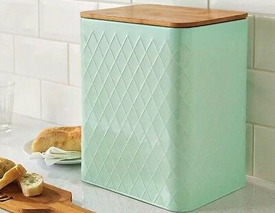 Delicate Pastel Mint Coloured Bread Bin With Silicone Seal Bamboo Lid - New