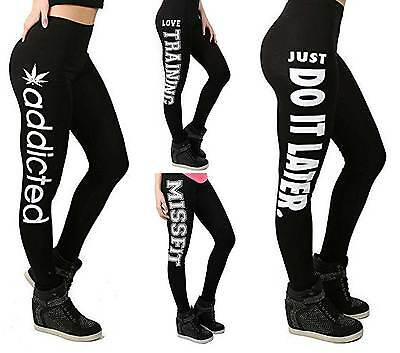 Ladies Womens Full Length Love Workout Addicted Gym Stretch Printed Leggings Fit