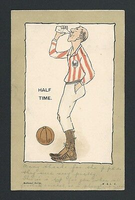 Antique Football Postcard - postmarked Kintore in 1903 - 113 years old - vgc