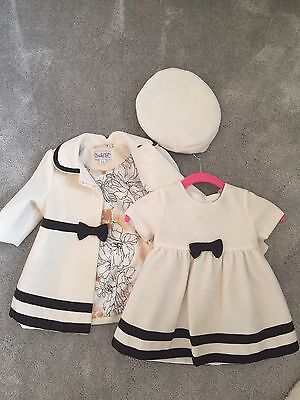 Baby Girl Spanish Outfit Set Dress Jacket Hat Age 9-12 Months Cream Wedding