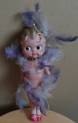 Vintage KEWPIE Betty Boop Style Thin PLASTIC Strung DOLL with FEATHERS