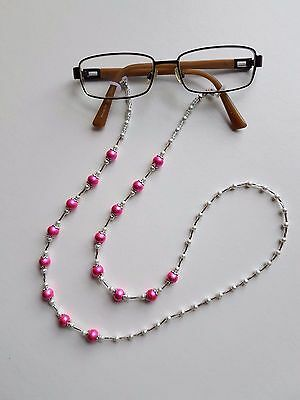 Handmade Pearl Bead Glasses Chain in a Beautiful Pink and White Colour