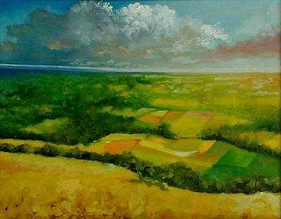 Limited Edition Somerset Valley A3 Print Of Original Oil Painting Landscape Sky