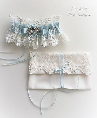 Bridal Garter and Bag Ivory Lace Blue Personalised Miss Darcy Wedding Brides Hen