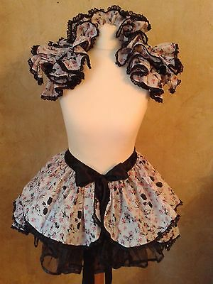 Skull and Flower lolita Bustle and shrug set Burlesque Steampunk Harajuku Gothic