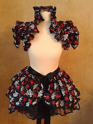 Skull and Rose  lolita Bustle and shrug set Burlesque Steampunk Harajuku Gothic