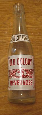 Vintage 1952 Old Colony Beverages Soda Pop Advertising Bottle ~ Nice Graphics ~