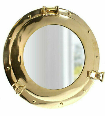 """Nautical Solid Brass Ship's Porthole Mirror 15""""  Round Maritime Wall Decor New"""