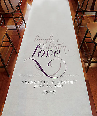 LAUGH DREAM LOVE Personalized Wedding Aisle Runner Church Decoration Ceremony