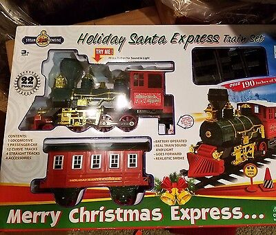 NEW  Santa Christmas Train Steam Engine Express Train with Sound and smoke
