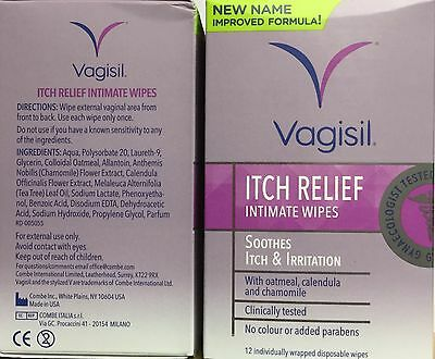 (two) Vagisil Itch Relief Intimate Wipes 12 Individual wrapped Soothes Itch