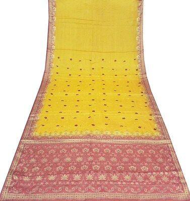Uk Vintage Sari Heavy Embroidered Yellow Saree Pure Silk Fabric Crafts Women Art