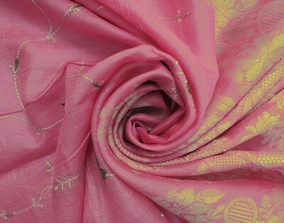 Vintage Indian Sari Floral Embroidered 100% Silk Fabric Pink Saree Crafted Wrap
