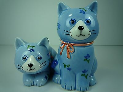 Vintage Otagiri Blue Kitten Salt And Pepper Shakers