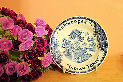 Vintage Porcelain Blue Willow Schweppes Indian Tonic Plates Bowl