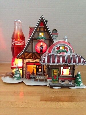 Coca-Cola Fizz Factory Dept 56 North Pole Lighted Christmas House