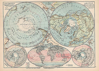 Map Of The World Antarctic and Artic Regions 1894 Original Antique