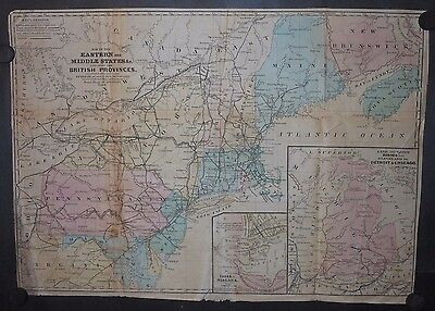 Eastern United States 1853 Map Hand Color New England Canada New York Railroads