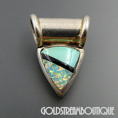 Navajo Signed Sterling Silver Gibson Opal Jet & Turquoise Inlay Triangle Pendant