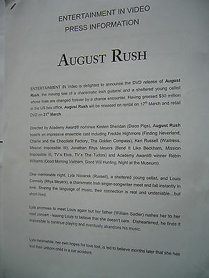 AUGUST RUSH 2 pages FREDDIE HIGHMORE JONATHAN RHYS MEYERS DVD PRESS RELEASE