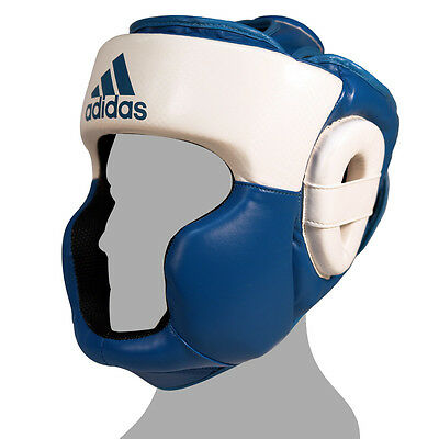 Adidas Response Standard Top Protection Boxing Headgear - White/Solar Blue
