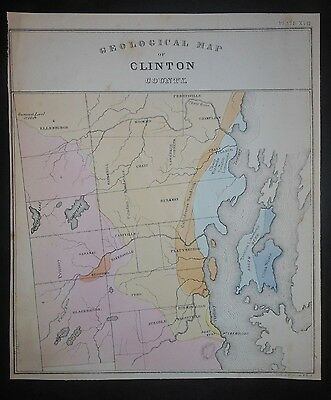 Clinton County New York Geological Map Hand Color Peru Beekman Mooers Chazy
