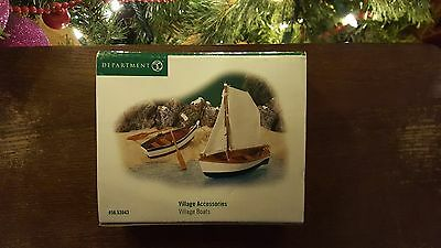 Dept. 56 Village Boats Set of 2 with Sails & Paddles Retired 56.53043 New in Box