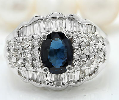 3.25CTW Natural Blue Sapphire and DIAMOND in 18K Solid White Gold Women Ring