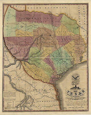 "1837 MAP of TEXAS, Historic Print, HIGH QUALITY, 16""x13"", AMERICA, antique decor"