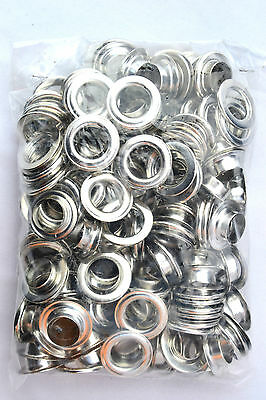 100 Eyelets & Washers 14 mm silver