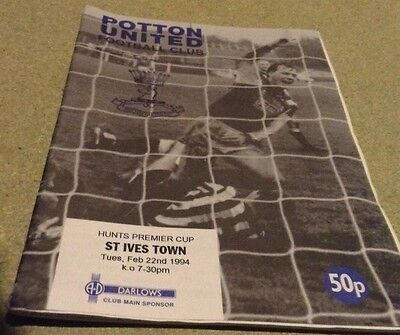 Potton United V St Ives Town Football Programme 1994