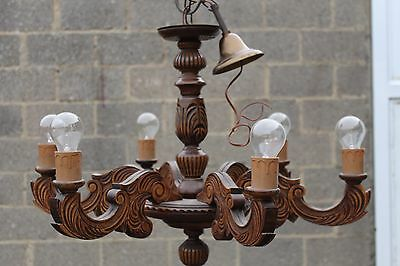 larGE antique french wood handcarved 6 arms  lamp chandelier, wood carved 1.3