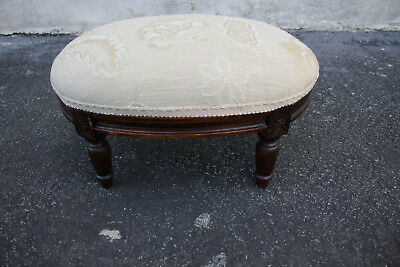 19th c.  French Louis XV style Walnut Oval Stool, New Upholstery