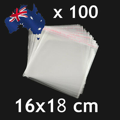 100pcs Self Adhesive Self Seal Cellophane Resealable Clear Plastic Bags 16 x18cm
