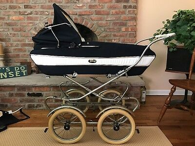 Vintage  Perego  Stroller Carriage Baby Buggy Made In Italy Navy /White Interior