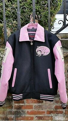 Rare BETTY BOOP KIKI & BIMBO Black Pink leather wool jacket 2004 Excelled Sz S