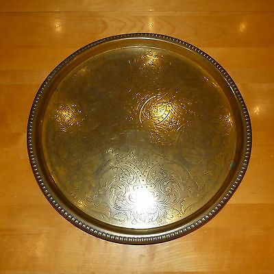 Vintage 45cm round hand engraved /etched brass serving platter/tray/wall hanging