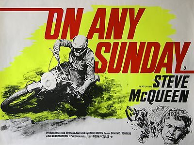 """On Any Sunday Steve Mcqueen 16"""" x 12"""" Reproduction Movie Poster Photograph"""