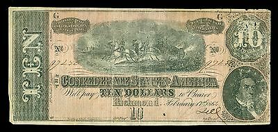 1864 Confederate State of America Richmond $10 Dollar Large Note 97256