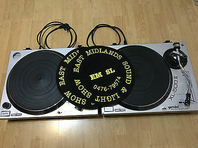 2 X Gemini XL500ii Direct Drive Pro Turntables with Shure M44-7 cartridges