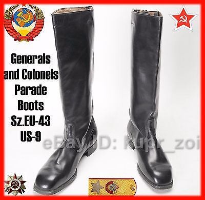 NEW Sz.43 Very RARE Chrome Leather Army Officers Boots Germany reparation USSR