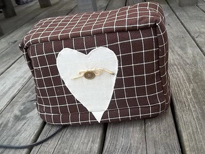 Toaster Cover Primitive Heart Brown Cream Country Fabric Quilted 2 Slice