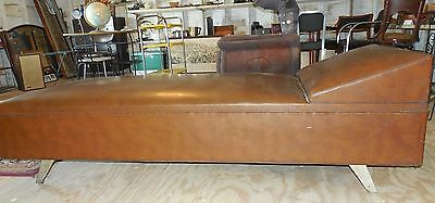 Brown Naugahyde Chase Brown Mid Century Modern Vintage Art Deco Couch