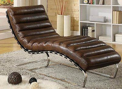 Chaise Real leather Vintage Relax lounger Design Recamiere longue NEW 436